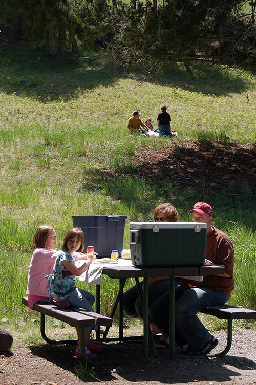 Kids doing lunch at Yellowstone