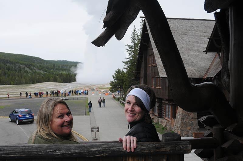 People enjoying while touring Yellowstone