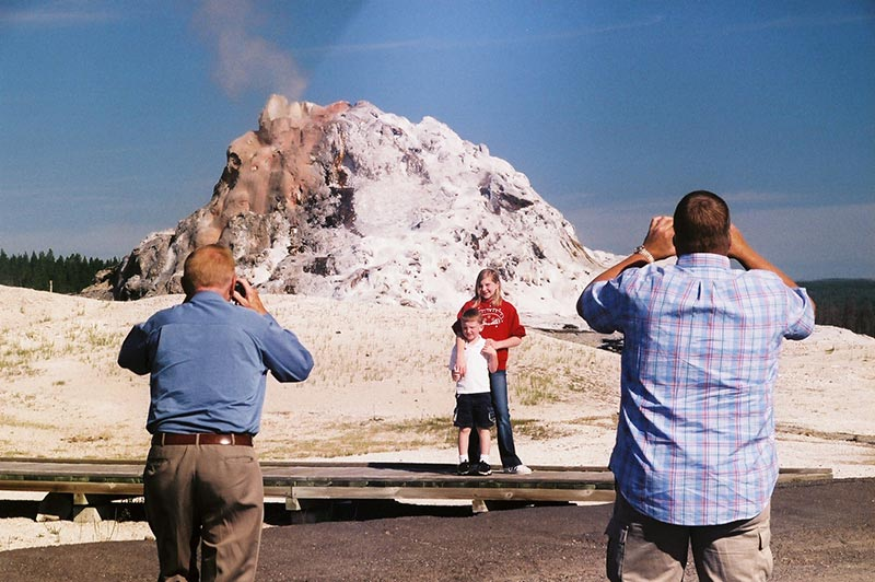 People doing photography at Yellowstone