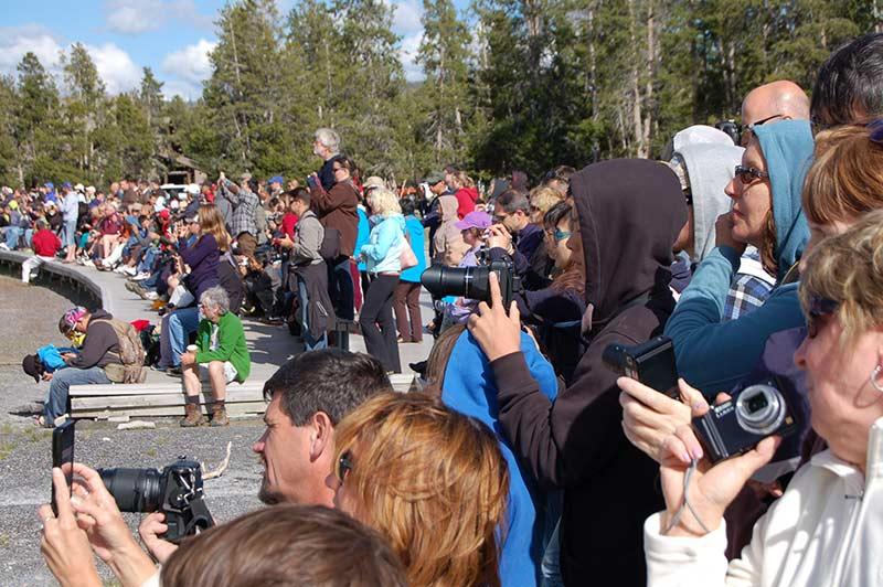 People touring Yellowstone