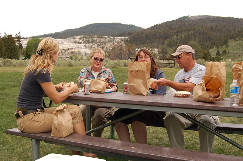 People having lunch at Yellowstone