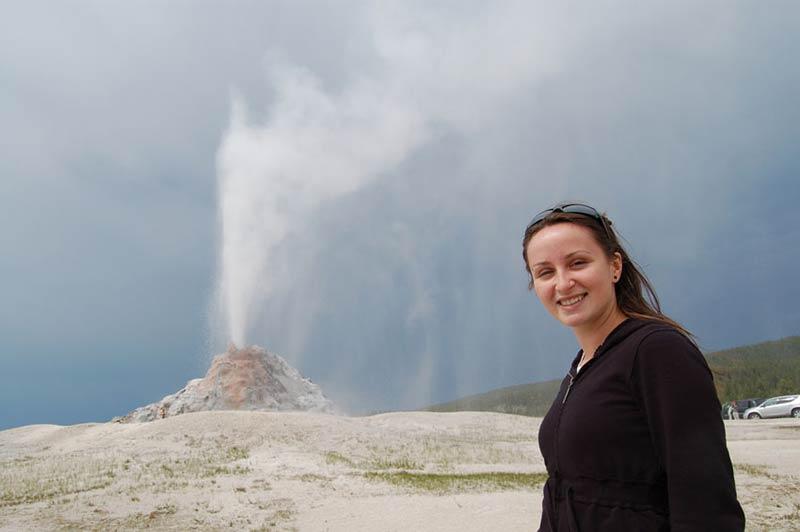 Yellowstone white dome geyser